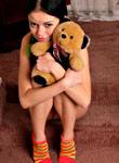 littledanni.com: Danni plays with teddy bear